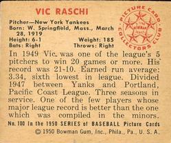 1950 Bowman #100 Vic Raschi back image