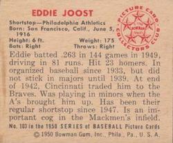 1950 Bowman #103 Eddie Joost back image