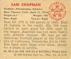 1950 Bowman #104 Sam Chapman back image