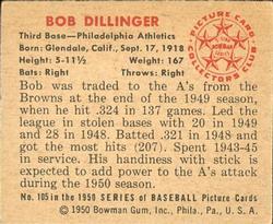 1950 Bowman #105 Bob Dillinger back image