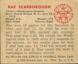 1950 Bowman #108 Ray Scarborough back image