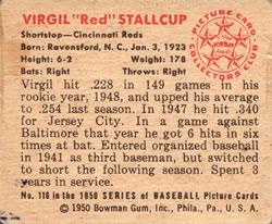 1950 Bowman #116 Virgil Stallcup back image