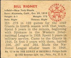 1950 Bowman #117 Bill Rigney back image