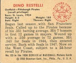 1950 Bowman #123 Dino Restelli RC back image