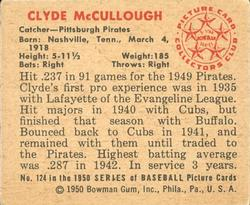 1950 Bowman #124 Clyde McCullough back image
