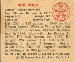 1950 Bowman #128 Phil Masi back image