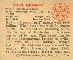 1950 Bowman #131 Steve Gromek back image