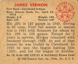 1950 Bowman #132 Mickey Vernon back image