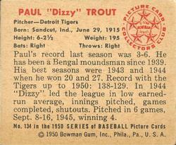 1950 Bowman #134 Paul Trout back image