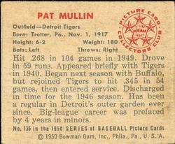 1950 Bowman #135 Pat Mullin back image
