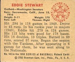 1950 Bowman #143 Eddie Stewart back image
