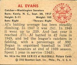 1950 Bowman #144 Al Evans back image