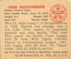 1950 Bowman #151 Fred Hutchinson back image