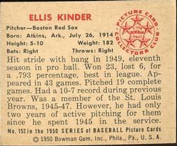 1950 Bowman #152 Ellis Kinder RC back image