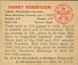 1950 Bowman #161 Sherry Robertson RC back image