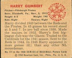 1950 Bowman #171 Harry Gumbert back image