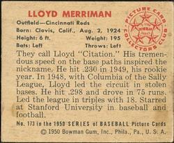 1950 Bowman #173 Lloyd Merriman RC back image