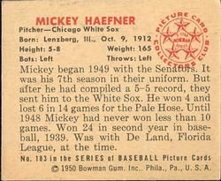 1950 Bowman #183 Mickey Haefner back image