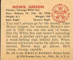 1950 Bowman #185 Howie Judson RC back image