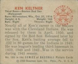 1950 Bowman #186 Ken Keltner back image