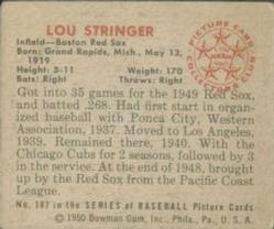 1950 Bowman #187 Lou Stringer back image