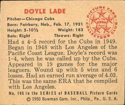 1950 Bowman #196 Doyle Lade back image