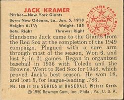 1950 Bowman #199 Jack Kramer back image