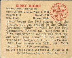 1950 Bowman #200 Kirby Higbe back image