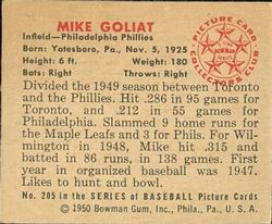 1950 Bowman #205 Mike Goliat RC back image