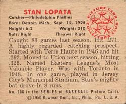 1950 Bowman #206 Stan Lopata back image