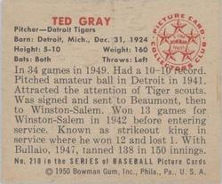1950 Bowman #210 Ted Gray back image