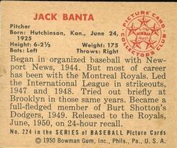 1950 Bowman #224 Jack Banta RC back image