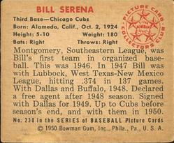 1950 Bowman #230 Bill Serena RC back image