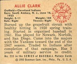 1950 Bowman #233 Allie Clark back image