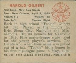 1950 Bowman #235 Harold Gilbert RC back image