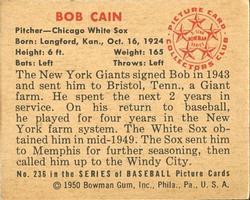 1950 Bowman #236 Bob Cain RC back image