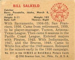 1950 Bowman #237 Bill Salkeld back image