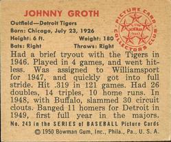 1950 Bowman #243 Johnny Groth RC back image