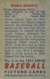 1951 Bowman #3 Robin Roberts back image