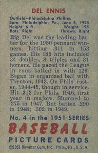 1951 Bowman #4 Del Ennis back image