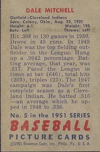 1951 Bowman #5 Dale Mitchell back image