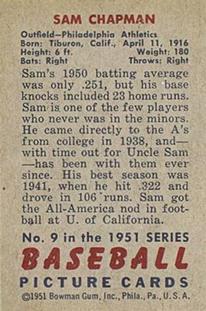 1951 Bowman #9 Sam Chapman back image