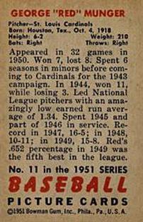 1951 Bowman #11 George Munger back image