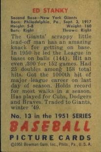 1951 Bowman #13 Eddie Stanky back image