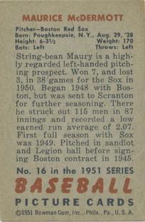 1951 Bowman #16 Maurice McDermott back image