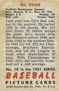 1951 Bowman #18 Gil Coan back image
