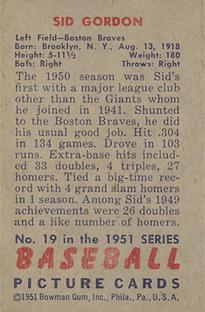 1951 Bowman #19 Sid Gordon back image