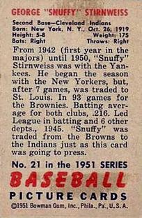 1951 Bowman #21 Snuffy Stirnweiss back image