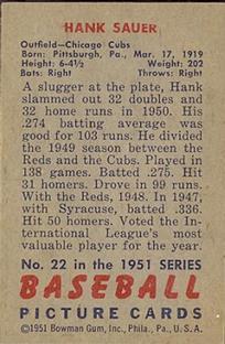 1951 Bowman #22 Hank Sauer back image