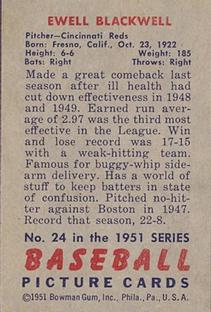 1951 Bowman #24 Ewell Blackwell back image